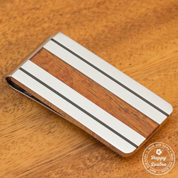 Solid Stainless Steel Money Clip with Black Enamel Lining & Hawaiian Koa Wood Inlay
