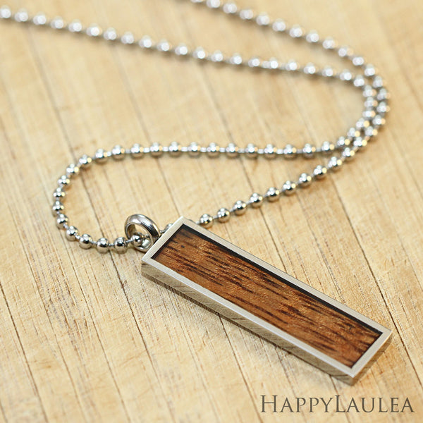 Stainless Steel Pendant with Koa Wood Inlay