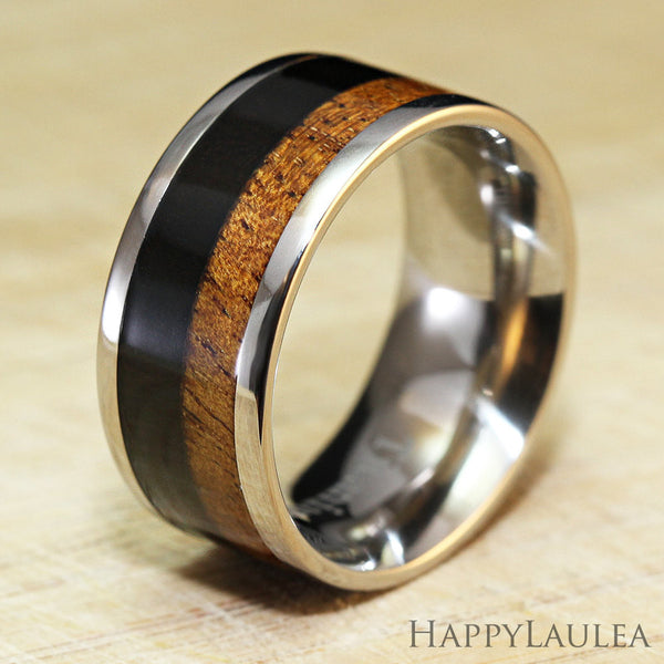 Stainless Steel Ring with Koa Wood and Black Wood Inlay