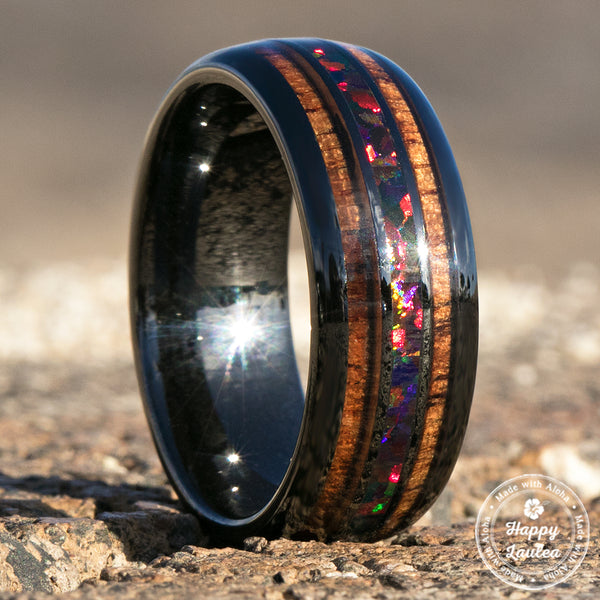 HI-TECH Black Ceramic Ring with Fire Opal & Koa Wood Tri Inlay Inlay - 8mm, Dome Shape, Comfort Fitment