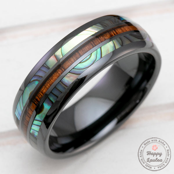 HI-TECH Black Ceramic Rings with Abalone Shell & Koa Wood Tri-Inlay (Shell-Wood-Shell) - 8mm, Dome Shape, Comfort Fitment
