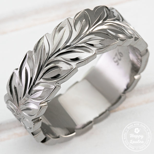 Black Rhodium 925 Sterling Silver Hand Engraved Ring with Maile Leaf & Hawaiian Sea Turtle Design - 8mm, Flat Shape, Comfort Fitment
