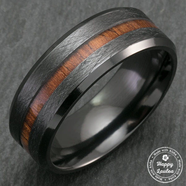 Black Zirconium Cross Brushed Beveled Edge Ring with Hawaiian Koa Wood Inlay - 8mm, Flat Shape, Comfort Fitment