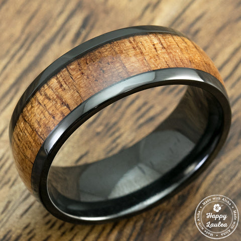 Black Zirconium Ring with Hawaiian Koa Wood Inlay, 8mm, Dome Shape, Comfort Fitment