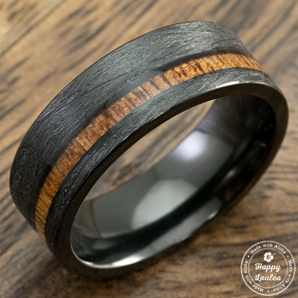 Black Titanium Brushed Finished Ring with Offset Koa Wood Inlay, 8mm, Comfort Fitment, Flat Shape