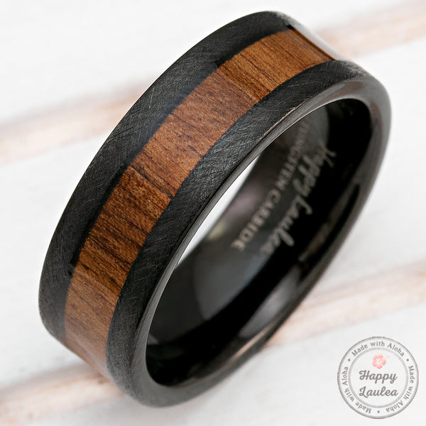 Black Tungsten Crossed Brushed Ring with Hawaiian Koa Wood Inlay - 8mm, Flat Shape, Comfort Fitment