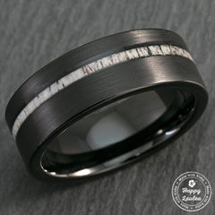 Black Tungsten Carbide Brush Finish Ring with Offset Antler Inlay - 8mm, Flat Shape, Comfort Fitment