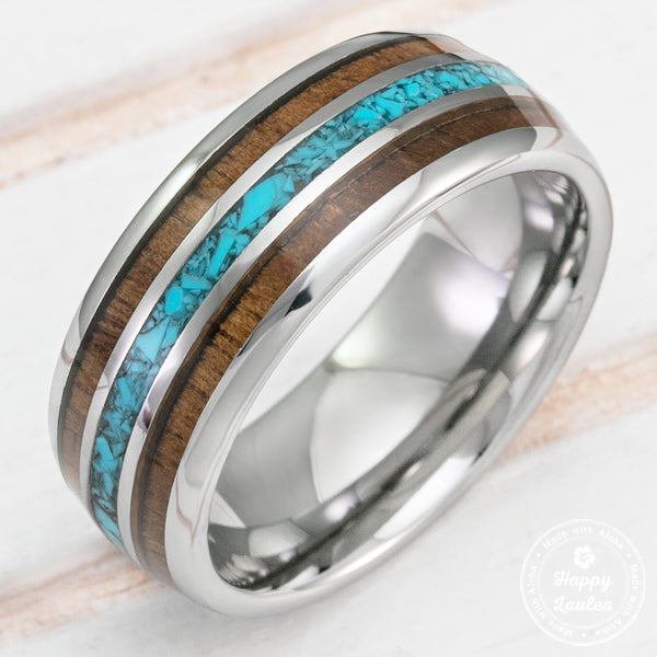 Tungsten Carbide Ring with Crushed Turquoise & Hawaiian Koa Wood Inlay - 8mm, Dome Shape, Comfort Fitment