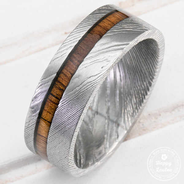 Damascus Steel Ring with Hawaiian Koa Wood Offset Inlay - 8mm, Flat Shape, Comfort Fitment