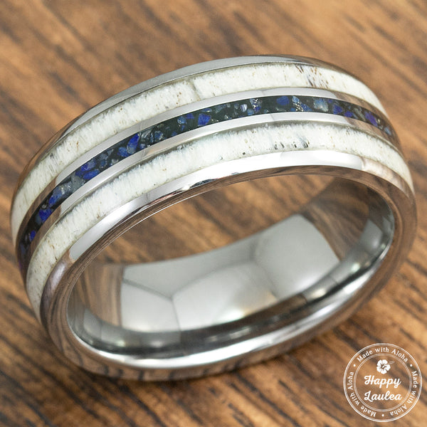 Tungsten Carbide Ring with Crushed Lapis Lazuli & Antler Tri-Inlay - 8mm, Dome Shape, Comfort Fitment