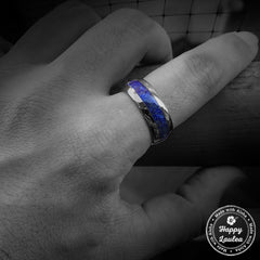 Tungsten Carbide Dome Shape Ring with Lapis Lazuli Inlay - 8mm, Comfort Fitment