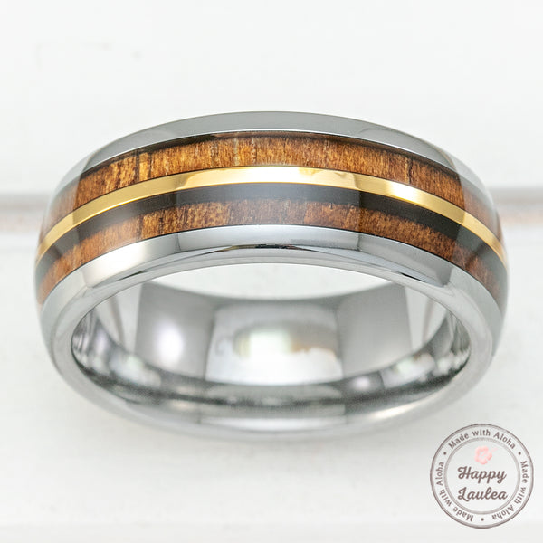 Tungsten Carbide with Gold Strip Ring & Hawaiian Koa Wood Duo-Inlay - 8mm, Dome Shape, Comfort Fitment