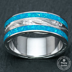 Sterling Silver 8mm Hawaiian Jewelry Ring with Azure Blue Opal Duo Inlay - Flat Shape, Standard Fitment
