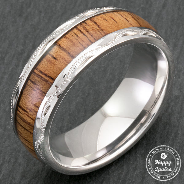Sterling Silver Hand Engraved Hawaiian Jewelry Ring with Koa Wood Inlay - 8mm, Dome Shape, Comfort Fitment