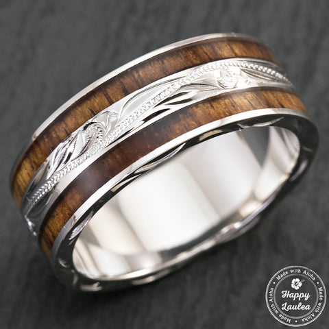 14K White Gold Hand Engraved Hawaiian Jewelry Ring with Duo Hawaiian Koa Wood Inlay