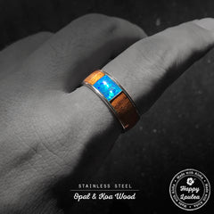 Stainless Steel Ring with Koa Wood & Center Opal Inlay - 8mm, Dome Shape, Comfort Fitment