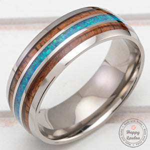 Titanium 8mm Ring with Azure Blue Opal & Hawaiian Koa Wood Inlay - Dome Shape, Comfort Fitment