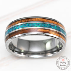 Tungsten Carbide with Azure Opal & Hawaiian Koa Wood  Tri-Inlay - 8mm, Dome Shape, comfort Fitment