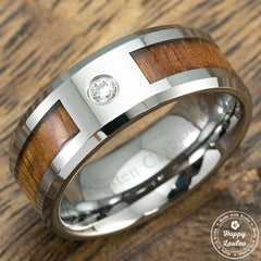 Tungsten Carbide Beveled Cubic Zirconia Ring with Koa Wood Inlay  - 8mm, Flat Shape, Comfort Fitment