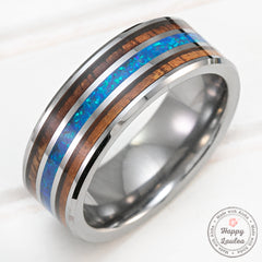 Tungsten Carbide Beveled Edge 8mm Ring with Hawaiian Koa & Azure Blue Opal Tri-Inlay - Flat Shape, Comfort Fitment