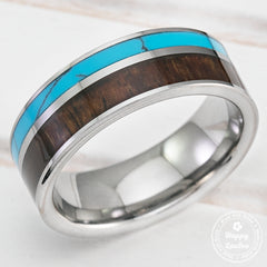 Tungsten Carbide Ring with Dark Koa Wood & Turquoise Offset Inlay - 8mm, Flat Shape , Comfort Fitment