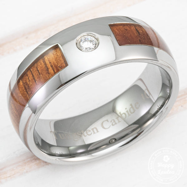 Tungsten Carbide Cubic Zirconia Ring with Hawaiian Koa Wood Inlay - 8mm, Dome Shape, Comfort Fitment