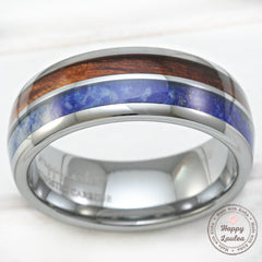 Tungsten Carbide Ring with Koa Wood & Lapis Lazuli Duo Inlay - 8mm, Dome Shape, Comfort Fitment