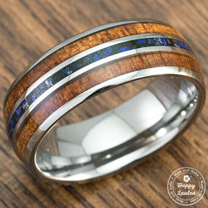 Tungsten Carbide Ring with Koa Wood & Lapis Lazuli Tri Inlay - 8mm, Dome Shape, Comfort Fitment