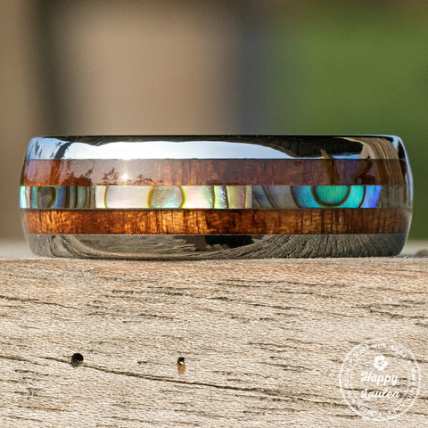 Tungsten Carbide Ring with Mid-Abalone Shell & Hawaiian Koa Wood Inlay (No Mid Tungsten Strips) - 8mm, Dome Shape, Comfort Fitment