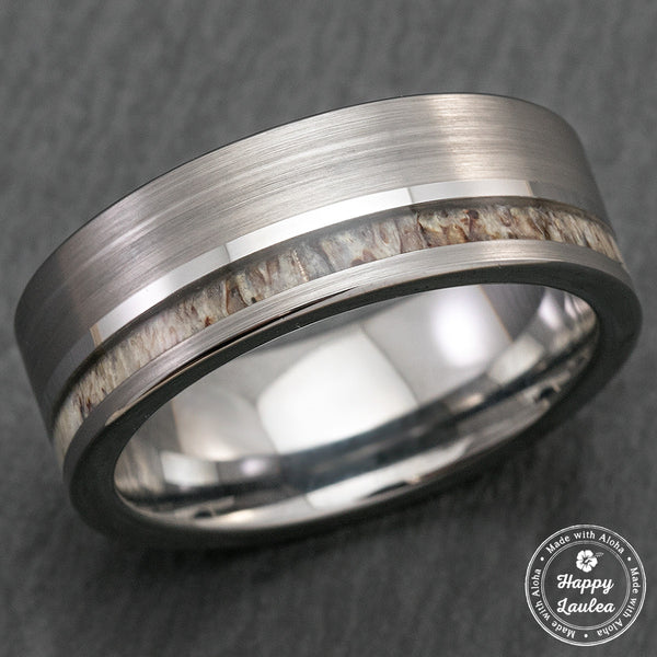 Tungsten Carbide Brush Finish Ring with Offset Antler Inlay - 8mm, Flat Shape, Comfort Fitment