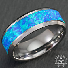 Tungsten Carbide Beveled Ring wth Opal Inlay - 8mm, Flat Shape, Comfort Fitment