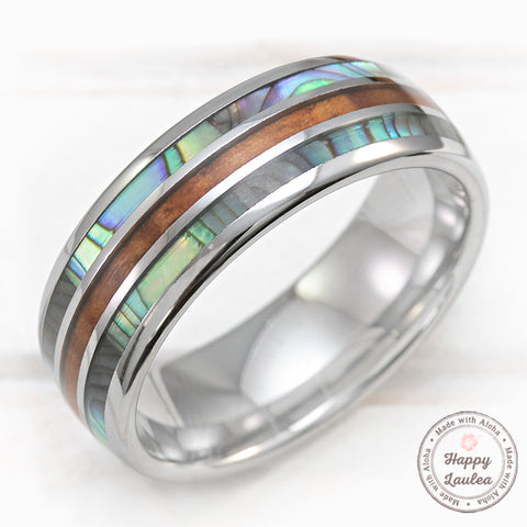 Tungsten Carbide 8mm Ring with Abalone Shell & Hawaiian Koa Wood Tri-Inlay (Shell-Wood-Shell) - Dome Shape, Comfort Fitment