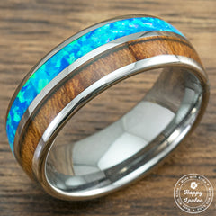 Tungsten Carbide Ring with Blue Opal & Koa Wood Duo Inlay, 6-8mm, Dome Shape, Comfort Fitment