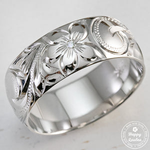 14K White Gold Ring Hand Engraved Old English Design - 8mm, Dome Shape, Comfort Fitment