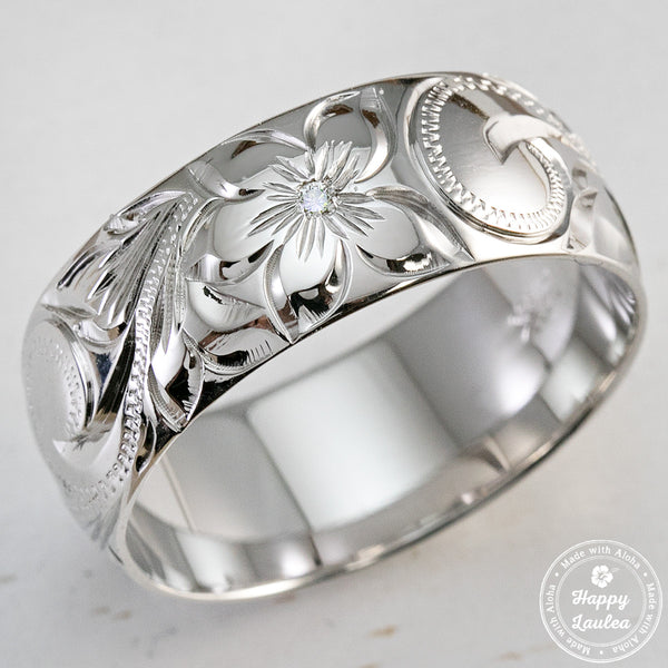 14k white gold ring hand engraved old english design 8mm dome shape comfort - Hawaiian Wedding Rings