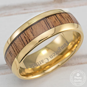 Tungsten Carbide Gold Plated Ring with Koa Wood Inlay - 8mm, Dome Shape, Comfort Fitment