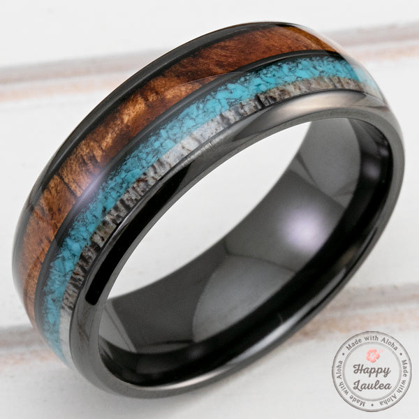 Black Zirconium 8mm Ring with Antler, Turquoise & Hawaiian Koa Wood Tri-Inlay - Dome Shape, Comfort Fitment
