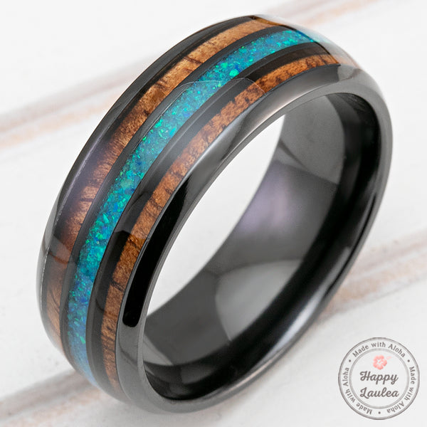 Black Zirconium 8mm Ring with Azure Blue Opal & Hawaiian Koa Wood - Dome Shape, Comfort Fitment