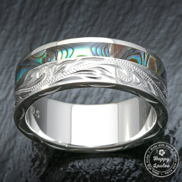 Sterling Silver Hand Engraved Ring with Offset Abalone Shell Inlay - 8mm, Flat Shape, Standard Fitment