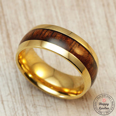 Stainless Steel Ring with Koa Wood Inlay