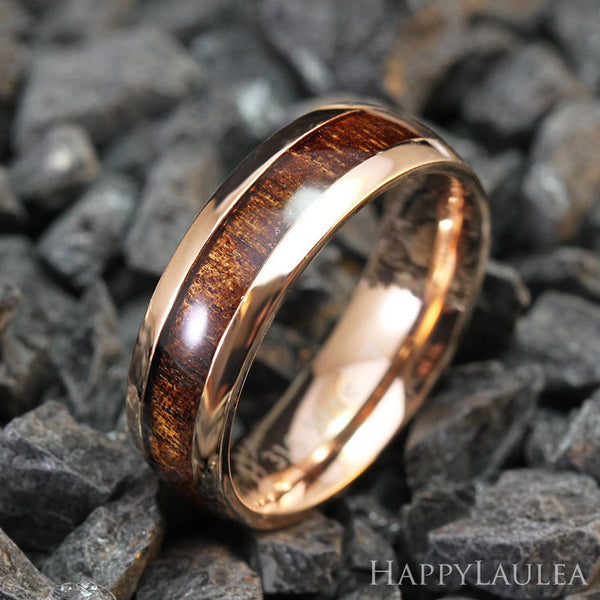 Stainless Steel Ring with Koa Wood Inlay - 6mm, Dome Shape, Comfort Fitment