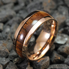 Tungsten Carbide Rose Gold Ring / Hawaiian Koa Wood / 8mm Width - Barrel Shape, Comfort Fitment