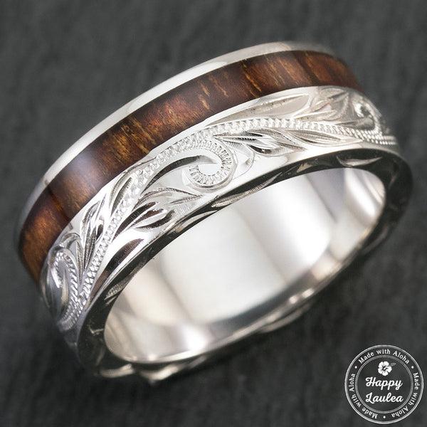 Sterling Silver Hand Engraved Ring with Offset Hawaiian Koa Wood Inlay