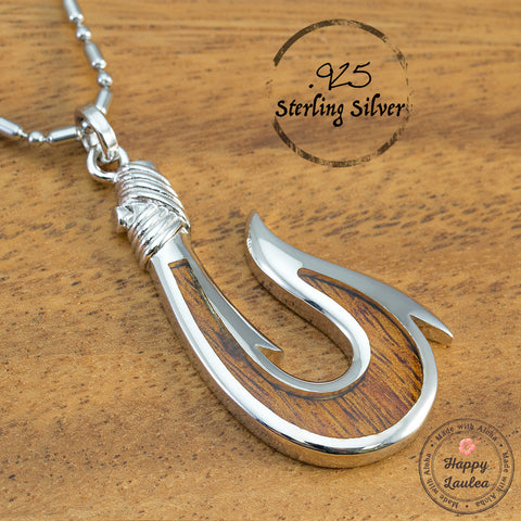 Sterling Silver Masculine Hawaiian Fish Hook 'Makau' Necklace with Hawaiian Koa Wood Inlay (Chain Included)