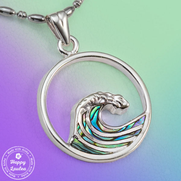 925 Sterling Silver Ocean Wave Pendant with Abalone Pau'a Shell Inlay (Chain Included)