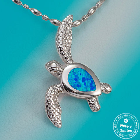 Sterling Silver Realistic Sea Turtle Hawaiian Honu Pendant with Blue Opal Inlay, Stainless Steel Chain Included