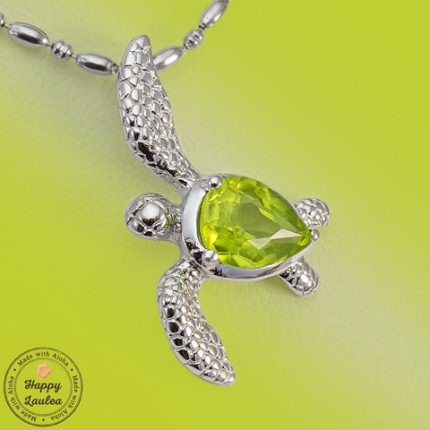 Sterling Silver Realistic Sea Turtle Hawaiian Honu Pendant with Peridot Setting, Stainless Steel Chain Included