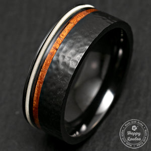 Black Zirconium Hammered Ring with Offset Guitar String & Hawaiian Koa Wood Inlay - 8mm width, Flat Shape, Comfort Fitment
