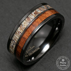 Black Zirconium Ring with Antler & Hawaiian Koa Wood Duo Inlay - 8mm, Flat Shape, Comfort Fitment