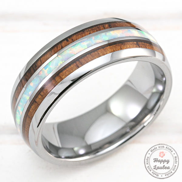 Tungsten Carbide 8mm Ring with Hawaiian Koa Wood & White Opal Tri-Inlay - Dome Shape, Comfort Fitment